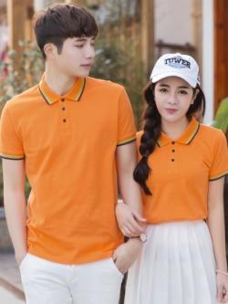 Pre Order เสื้อโปโลคู่รักแฟชั่น สไตล์เกาหลี แต่งลายคลาสสิก สีส้ม