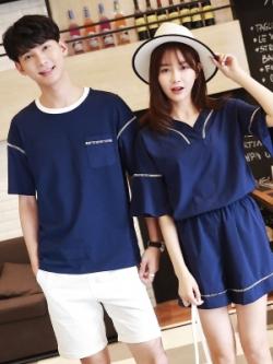 ชุดคู่รักสีน้ำเงินเกาหลี เสื้อกางเกง+เดรสสั้นคอV