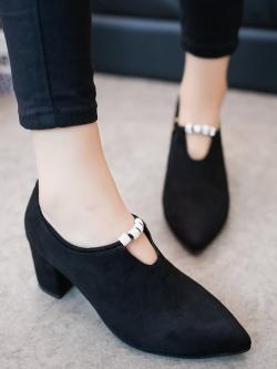 รองเท้าส้นสูง 6.5 ซม.หัวแหลม หนัง PU ประดับเพชรแต่งซิป สไตล์เกาหลี