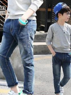 กางเกงยีนส์เด็กขายาวเกาหลี สีน้ำเงิน แต่งกระเป๋ากางเกง