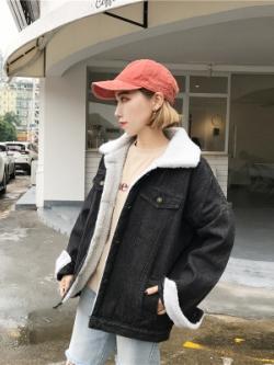 เสื้อยีนส์แจ็คเก็ตสีดำเกาหลี แต่งซับในขนนุ่ม