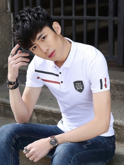 Pre Order เสื้อโปโลแฟชั่นเกาหลี คอปก แขนสั้น แต่งลายโลโก้ มี3สี
