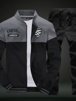 **พร้อมส่ง**ชุดวอร์มแฟชั่นเกาหลี เสื้อแนวเบสบอลแขนยาว+กางเกงขายาว สีดำ ไซส์ L