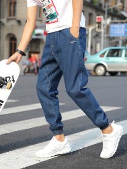 กางเกงขายาวเกาหลี แนวฮิปฮอป แต่งจั้มปลายขา มี2สี