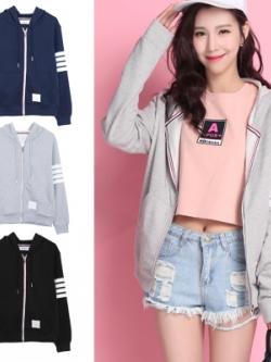 เสื้อฮู้ดแจ็คเก็ตเกาหลี แต่งแถบเส้นด้านข้าง มี3สี