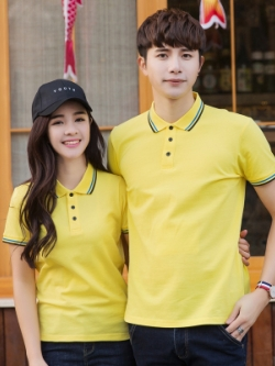 Pre Order เสื้อโปโลคู่รักแฟชั่น สไตล์เกาหลี แต่งลายคลาสสิก สีเหลือง