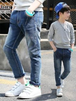 กางเกงยีนส์เด็กขายาวเกาหลี แต่งลายเส้น แนวเซอร์ๆ