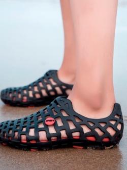 รองเท้าสวมเกาหลี แต่งรูระบายอากาศ แนวตาข่าย มี5สี