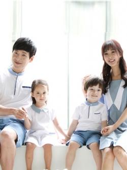 ชุดครอบครัวเซท4ชุด โทนสีฟ้า เสื้อโปโลแขนสั้น+เดรสสั้นน่ารัก