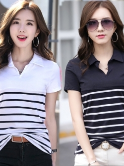 เสื้อโปโลแขนสั้นเกาหลี แต่งลายเส้นขวางด้านล่าง มี2สี
