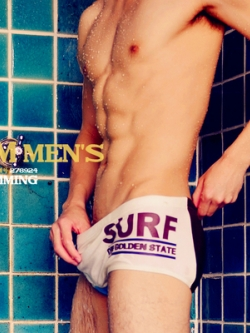 กางเกงว่ายน้ำเกาหลี สกรีนลายอักษร มี4สี