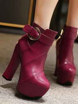 รองเท้าบู๊ทส้นสูงด้านในเป็นผ้าตาข่ายเพิ่มความอบอุ่นแฟชั่นมาร์ติน ดีไซน์หัวเข็มขัด+ซิปด้านหลัง สวยหรู