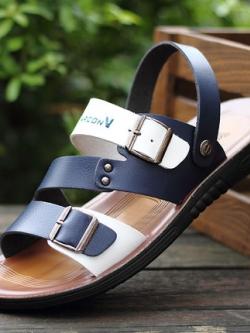 รองเท้าแตะเกาหลี แต่งสายคาด ดีไซน์ที่รัดส้น มี2สี