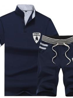 *** พร้อมส่ง *** Sports set เสื้อโปโลแขนสั้นแนวรถแข่ง+กางเกงขาสั้น สีน้ำเงิน