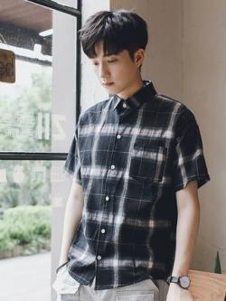 เสื้อเชิ้ตแขนสั้นเกาหลี ลายตารางสก๊อต มี2สี