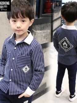 เสื้อเชิ้ตแขนยาวเด็กเกาหลี สีน้ำเงิน แต่งลายเส้นตรง