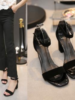 รองเท้าส้นสูงเกาหลี แต่งสายรัดข้อ+สายคาด ดีไซน์หัวเข็มขัด มี3สี