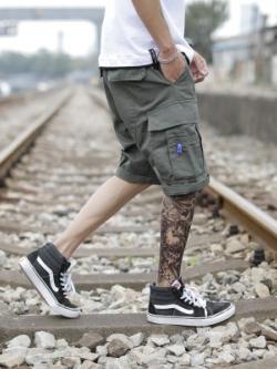 กางเกงขาสั้นเกาหลี แต่งกระเป๋ากางเกงด้านข้าง มี2สี