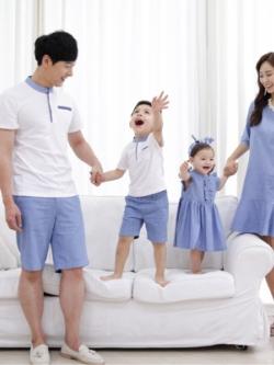ชุดครอบครัวเซท4ชุด เสื้อโปโลแขนสั้น+เดรสสั้นสไตล์เกาหลี