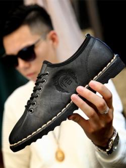 รองเท้าหนังสีดำเกาหลี ผูกเชือก แต่งขอบ เบอร์43