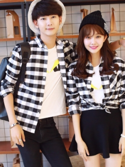 ชุดคู่รักเกาหลี เสื้อเชิ้ตแจ็คเก็ตคลุมแขนยาว ลายสก๊อตดำขาว