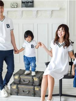 ชุดครอบครัวเซท3ชุด คอV เสื้อแขนสั้น+เดรสสั้น