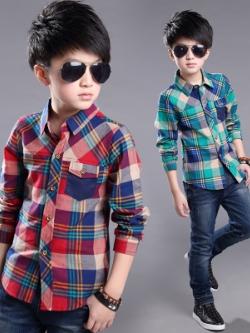 เสื้อเชิ้ตเด็กแขนยาวเกาหลี แต่งลายสก็อต มี2สี