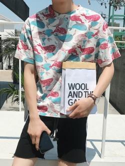 เสื้อยืดแขนสั้นเกาหลี แต่งรูปปลาวาฬ/แมวอ้วน มี2สี