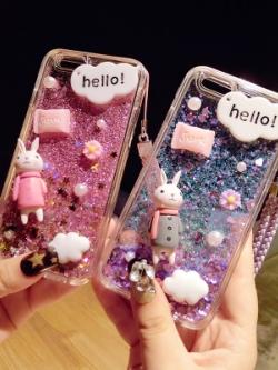 เคสไอโฟน/iPhone ทรายระยิบระยับ แต่งรูปกระต่าย/รูปเด็ก มี4แบบ