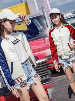 Pre Order เสื้อแจ็คเก็ตแฟชั่นเกาหลี แขนยาวแต่งสลับสี แนวเบสบอล มี2สี