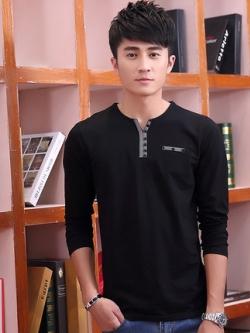 เสื้อโปโลแขนยาวเกาหลี แต่งแถบกระดุม มี4สี