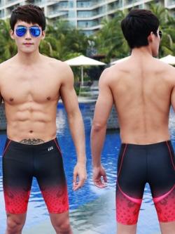 กางเกงว่ายน้ำเกาหลี แต่งแถบสี ดีไซน์คลื่น มี2สี