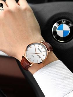 นาฬิกาข้อมือเกาหลี ทรงกลม แต่งขอบทอง มี2สี