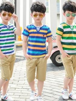 เสื้อเซทเด็กเข้าชุดเกาหลี ลายขวาง เสื้อ+กางเกง มี3สี