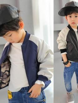 เสื้อแจ็คเก็ตเด็กเกาหลี พิมพ์ลายแนวเบสบอล มี2สี
