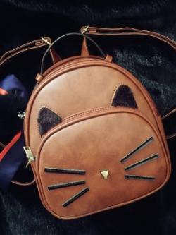 กระเป๋าสะพายเกาหลี แต่งหนวดแมว หูแมว น่ารักมาก มี4สี