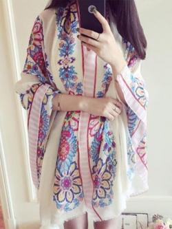ผ้าคลุมไหล่เกาหลี นุ่มสบาย แต่งลายดอกไม้ มี2สี