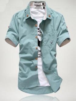 เสื้อเชิ้ตแขนสั้นเกาหลี แต่งพับปลายแขน ดีไซน์กระเป๋าเสื้อ มี7สี
