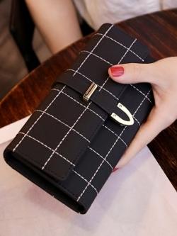 กระเป๋าสตางค์เกาหลี ใบยาว แต่งลายตาราง มี4สี