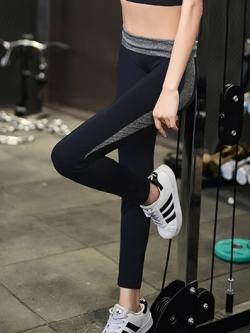 กางเกงโยคะรัดรูปขายาวสีดำเทาเนื้อผ้าไนล่อน(ไม่รวมสปอร์ตบรา)