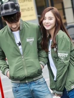 ชุดคู่รักเกาหลี เสื้อแจ็คเก็ตแขนยาว แต่งพิมพ์ลาย มี5สี