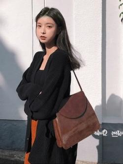 กระเป๋าสะพายข้างเกาหลี สีน้ำตาล หนังPU