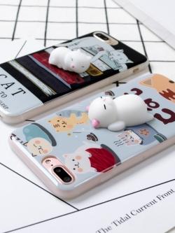 เคสไอโฟน 7/7Plus/6/6S/6Plus เคสซิลิโคนพิมพ์ลายการ์ตูนมีแมว 3D นอนติดเคส iPhone7/7Plus/6/6S/6Plus Case
