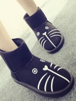 รองเท้าหิมะ/บูทกันหนาว หน้าน้องแมวน่ารักส้นแบน สีดำ หนังกลับนิ่ม สไตล์เกาหลี