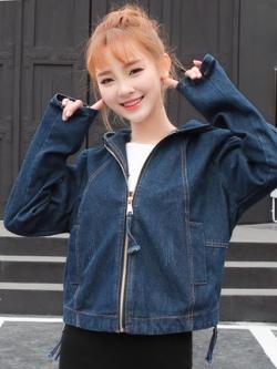 เสื้อฮู้ดแจ็คเก็ตยีนส์เกาหลี สีน้ำเงินเข้ม แต่งซิบด้านหน้า