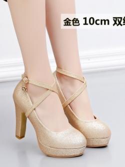 รองเท้าส้นสูงเกาหลี สีGold แต่งสายรัดไขว้กากบาท มี3แบบ
