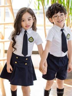 ชุดเด็กเครื่องแบบนักเรียน ชุดครบเซท เสื้อ+กางเกง/กระโปรง+เนคไท