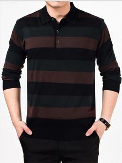 เสื้อโปโลแขนยาวเกาหลี แต่งลายขวางสลับสี มี3สี