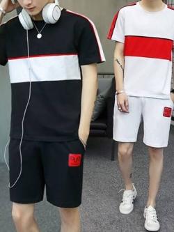 ชุดเซทกีฬาเกาหลี เสื้อแขนสั้น+กางเกงขาสั้น มี2สี