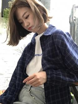 เสื้อเชิ้ตแขนยาวเกาหลี ทรงหลวมลายตาราง จั้มแขน มี3สี